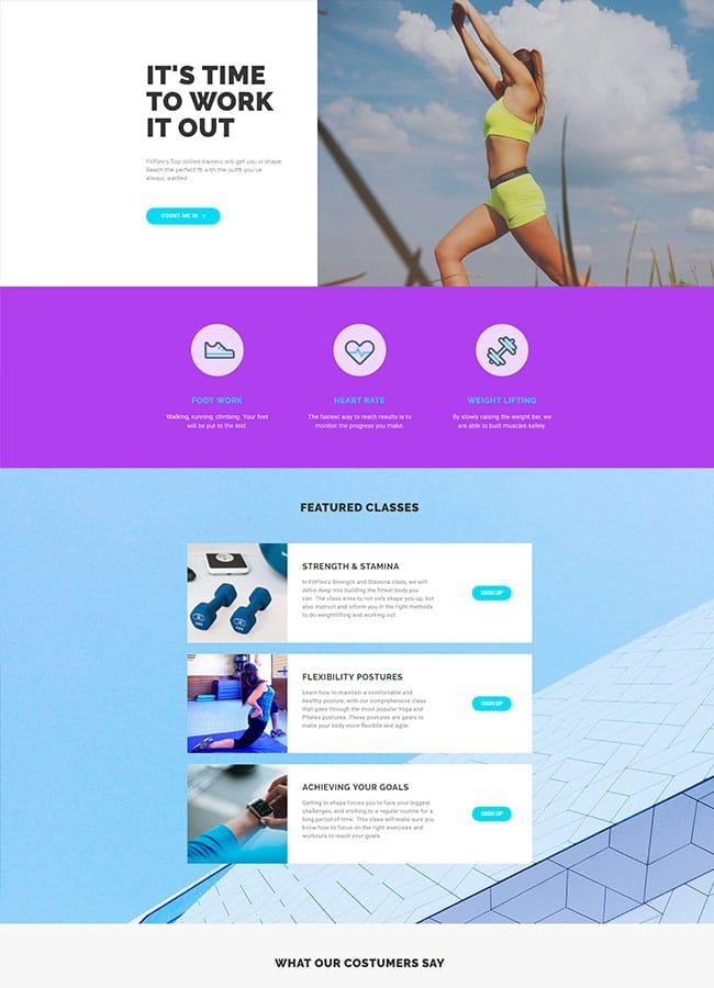 Templejt za veb stranica - Homepage Fitness - Veb dizajn, Темплејт за веб страница - Homepage Fitness - Веб дизајн