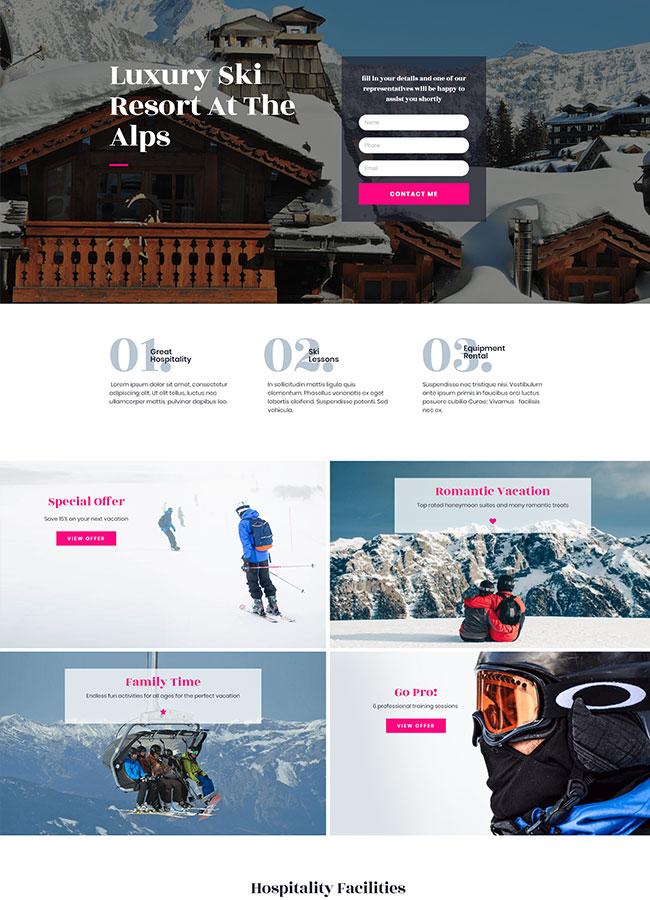 Templejt za veb stranica -Ski Resort Homepage - Veb dizajn, Темплејт за веб страница- Ski Resort Homepage - Веб дизајн