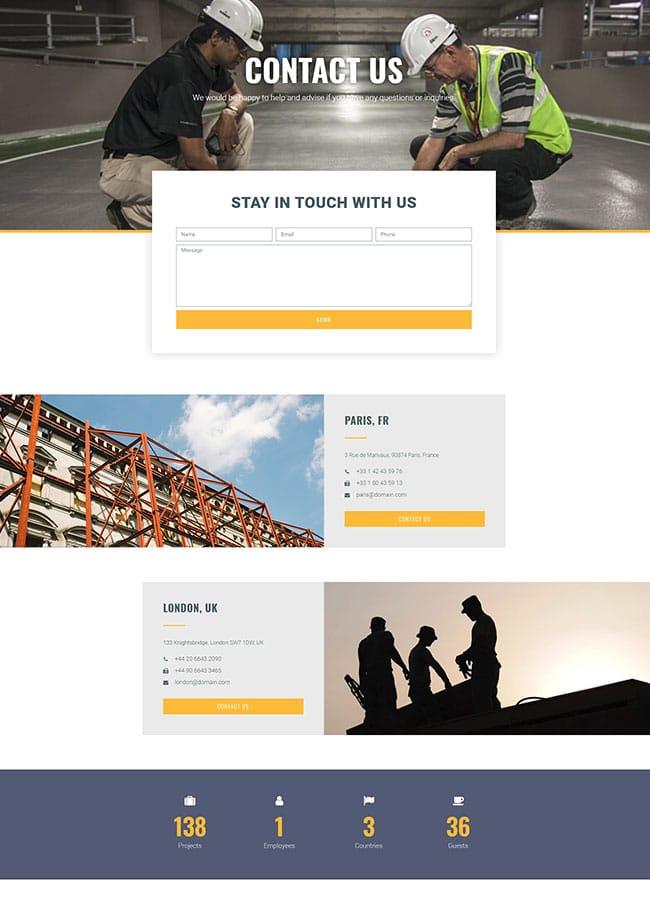 Templejt za veb stranica - Construction Company Contact - Veb dizajn, Темплејт за веб страница- Construction Company Contact - Веб дизајн