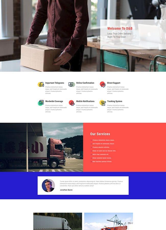 Templejt za veb stranica - Homepage Delivery Company - Veb dizajn, Темплејт за веб страница - Homepage Delivery Company- Веб дизајн