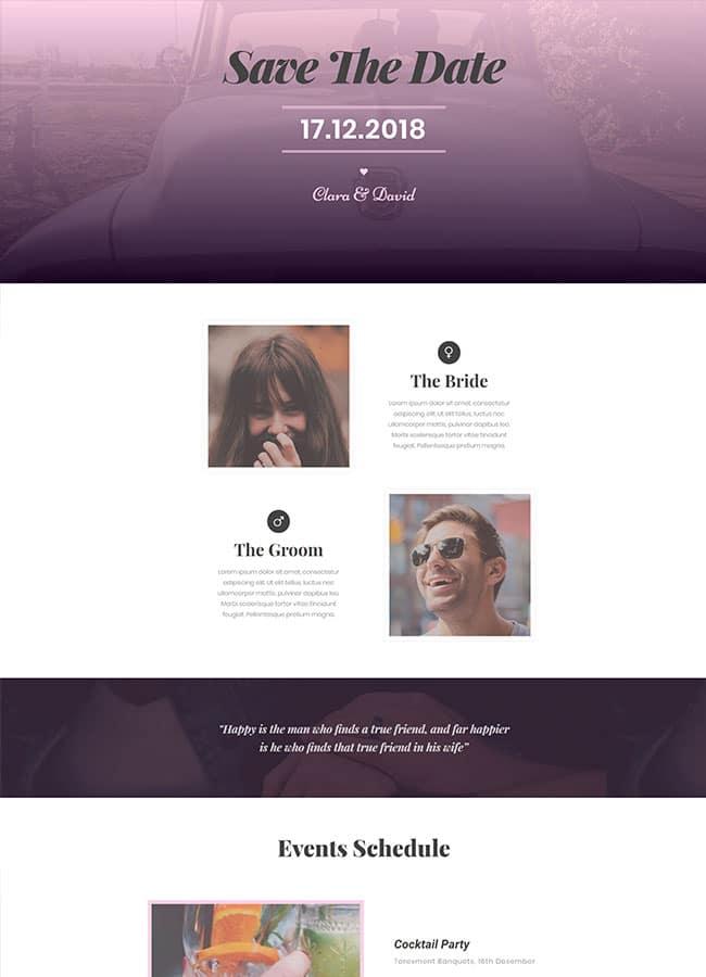 Templejt za veb stranica - One Page Wedding - Veb dizajn, Темплејт за веб страница - One Page Wedding - Веб дизајн