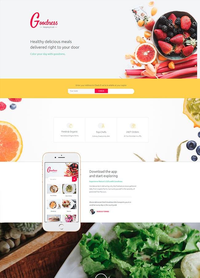 Templejt za veb stranica - Homepage Goodness meal services - Veb dizajn, Темплејт за веб страница - Homepage Goodness meal services - Веб дизајн
