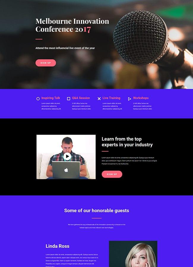 Templejt za veb stranica - Landing Page Conference 1 - Veb dizajn, Темплејт за веб страница - Landing Page Conference 1 - Веб дизајн