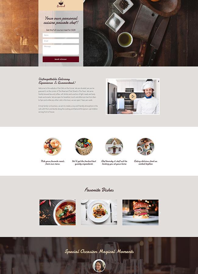 Templejt za veb stranica - Landing Page Private Chef - Veb dizajn, Темплејт за веб страница - Landing Page Private Chef - Веб дизајн