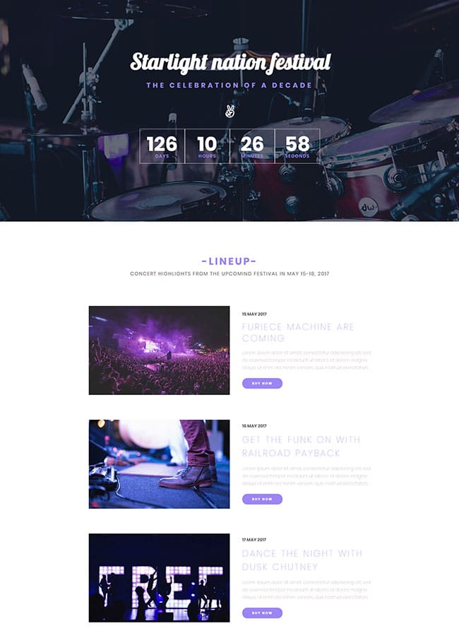 Templejt za veb stranica - Landing Page Festival - Veb dizajn, Темплејт за веб страница - Landing Page Festival - Веб дизајн