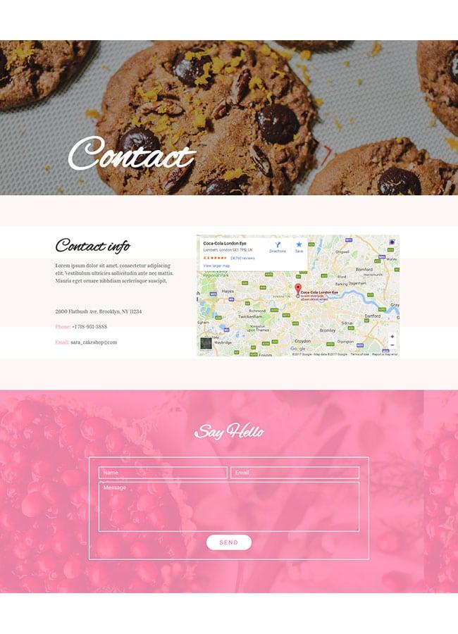 Templejt za veb stranica - Contact Cake Shop - Veb dizajn, Темплејт за веб страница - Contact Cake Shop - Веб дизајн