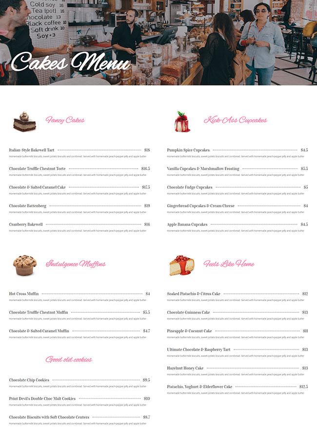 Templejt za veb stranica - Services Cake Shop Menu - Veb dizajn, Темплејт за веб страница - Services Cake Shop Menu - Веб дизајн