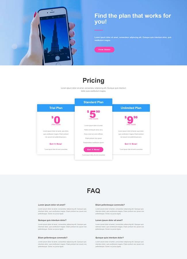 Templejt za veb stranica - Pricing App - Veb dizajn, Темплејт за веб страница - Pricing App - Веб дизајн